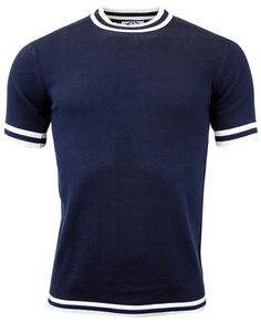 Brand: Madcap England. Key Points: Madcap England 'Moon' knitted T-shirt with tipping to cuffs, col