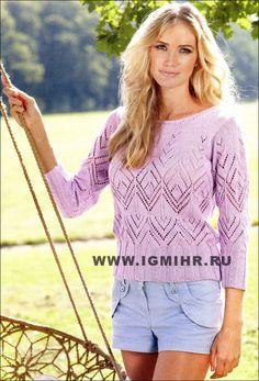 Легкий ажурный пуловер сиреневого цвета. Спицы