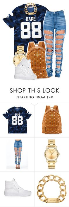 """Grubbing on oranges"" by trillest-queen ❤ liked on Polyvore featuring A BATHING APE, MCM, Movado, Vans and Michael Kors"