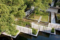 Landscape designed by Z+T Studio Landscape Architecture based in Shanghai for Pins de la Brume, a boutique hotel in Hangzhou.
