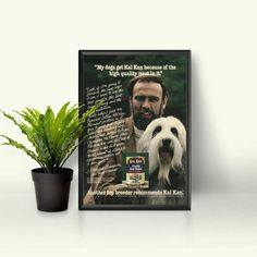 Kal Kan Dog Food Brand  Bearded Collie Dog Gift  Vintage Dog Food Ad  Retro Pet Products  Champion Dogs  Cute White Dog Decor Pet Photo by RetroPapers