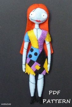 PDF sewing pattern to make a felt Sally 9 inches tall (24 cm). It is not a finished doll. Includes tutorial with pictures and step by step explanation. For hand sewing. Difficulty: high Instructions in Spanish-English. Things to do with this pattern can be sold in your own shop. Mass production, re-sale and distribution of pattern pieces and instructions is Expressly prohibited. Dolls made from this pattern are not suitable for children under 3. Instant download. If you have problems…