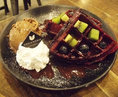 #tbt when I made my way to @veganerie in #Bangkok for these Red Velvet Waffles and Mocha Ice Cream.