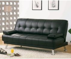 Elowen Black Leather Convertible Sofa