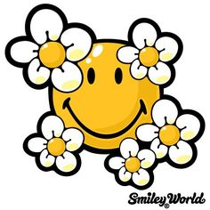 smiley face with daisies