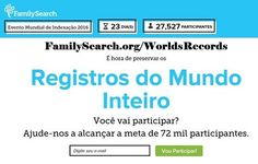 Acesse o site oficial do Evento Mundial de Indexação 2016 em: FamilySearch.org/WorldsRecords ‪#‎familysearch‬ ‪#‎indexacao‬