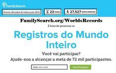 Acesse o site oficial do Evento Mundial de Indexação 2016 em: FamilySearch.org/WorldsRecords #familysearch #indexacao