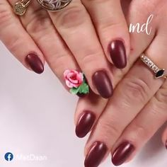 Creative handmade rose nail design By: evebeing Fancy Nails Designs, Fancy Nail Art, 3d Nail Designs, Nail Art Designs Videos, Nail Art Videos, Rose Nail Design, Rose Nail Art, Floral Nail Art, Rose Nails