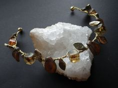 Autumn Queen Fall Leaves Golden Brown Wedding Prom by CassieVision, $29.50