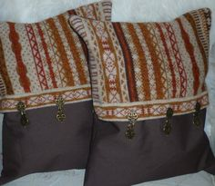 Upcycled Brown Patterned Pillow with Decorative
