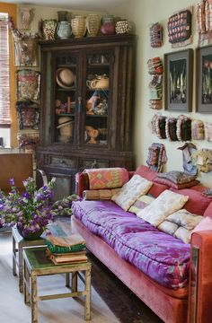 the sofa is a delight and note the pottery