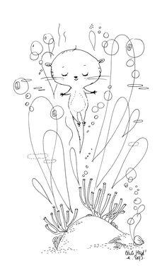 Loutre, Cécile Hudrisier Art Mignon, Animal Doodles, Art Et Illustration, Line Drawing, Doodle Art, Painting Inspiration, Cute Art, Illustrations Posters, Watercolor Paintings