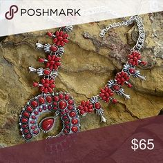 """🆕Squash Blossom Necklace Stunning Native American inspired necklace. Silver tone & faux red turquoise. This necklace has a nice weight to it.  18"""" long w/3"""" extender Western,  Cowgirl, Boho, Bohemian, Hippie ■PRICE FIRM UNLESS BUNDLED  ■ I DO NOT TRADE Boutique  Jewelry Necklaces"""