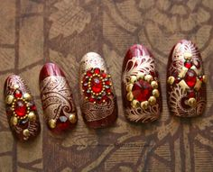 Japanese Nail Art- Rajasthan Dreams Press On Nails. 3d Nail Art, 3d Nails, Cool Nail Art, Wedding Nail Polish, Bridal Nail Art, Wedding Nails, Wedding Bride, Indian Nail Art, Indian Nails