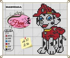 Patrulha Canina (Marshall) Fran Ponto Cruz Plastic Canvas Tissue Boxes, Plastic Canvas Crafts, Plastic Canvas Patterns, Paw Patrol Marshall, Cross Stitch Charts, Cross Stitch Patterns, Knitting Squares, Stitch Cartoon, Needlepoint Patterns