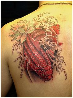 Koi Fish Tattoo Designs: Red Koi Fish Tattoo Ideas For Men On Upper Back ~ Tattoo Design Inspiration