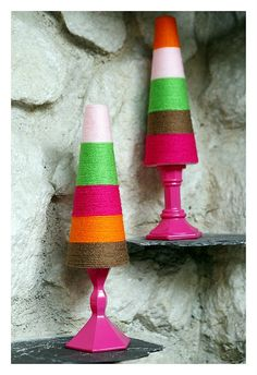 Styrofoam tress--cover with a little glue, wrap with yarn and glue to a candle stick holder