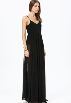 Black Spaghetti Strap Sheer Pleated Full Length Dress - Sheinside.com