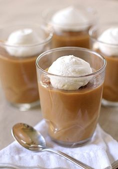 Galley Gourmet: Caramel Butterscotch Pudding with scotch whiskey in the recipe - now that's authentic!The Galley Gourmet: Caramel Butterscotch Pudding with scotch whiskey in the recipe - now that's authentic! Sweet Desserts, Just Desserts, Sweet Recipes, Delicious Desserts, Yummy Treats, Sweet Treats, Dessert Recipes, Yummy Food, Mousse