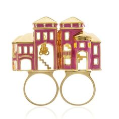 Barbie Dream House ring, ring opens to reveal the inside of her home including a great dangling chandelier