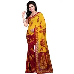 Nice-looking Multi Color Faux Georgette Printed Saree at just Rs.430/- on www.vendorvilla.com. Cash on Delivery, Easy Returns, Lowest Price.