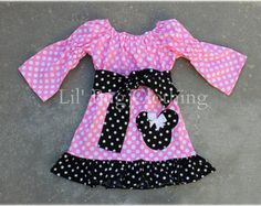 Custom Boutique Clothing Bubble Gum  Pink White Polka And Black Dots  Dot Minnie Mouse Peasant Dress
