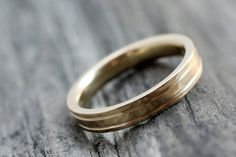 Rustic 14k Yellow Gold Wedding Band with by JCMetalsmithJewelry, $895.00