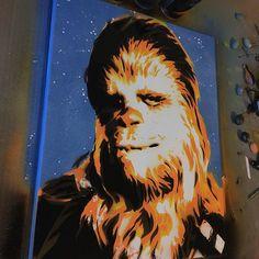 canvas of my boy Chewbacca Spray Paint Art, Spray Painting, Stencil Art, Stencils, David Witts, Nerd Art, Chewbacca, Graffiti Art, Starwars