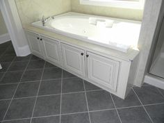 drop in tub with doors to access plumbing, etc. Diy Bathroom, Bathroom Makeover, Bathroom Countertops, Jacuzzi Bathroom, Jacuzzi Bathtub, Bathroom, Bathrooms Remodel, Bathroom Design, Bathroom Redo