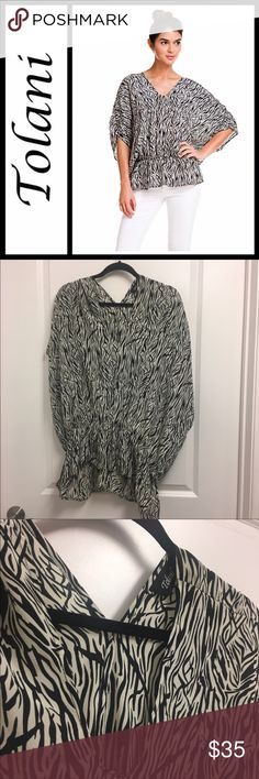 Tolani 'Elenor' Black & White Zebra Silk Blouse 100% silk, size is XS but runs big - prob better for a small or medium - perfect condition! Tolani Tops Blouses