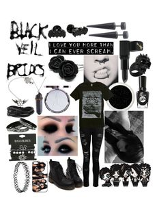 """💀BLACK VEIL BRIDES🖤"" by sleeping-horizon-empires on Polyvore featuring Dorothy Perkins, Hot Topic, Cufflinks, Inc., Gioelli, Barry M, Sally Hansen and Alexander McQueen"