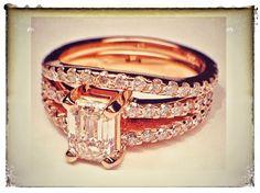 Pink Gold Emerald Cut Diamond Split Band Engagement Ring & Matching Wedding Band