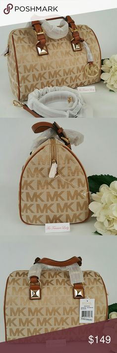 "Michael Kors MK Grayson bag camel satchel medium *Authentic *NWT *Style # 35H4GGYS2J *MK Medium Monogram Grayson satchel *Beige/camel/luggage brown color *Jacquard fabric *Leather trim and handles *Gold-tone hardware *Zipper closure *Attached MK emblem *Measurements: 8"" H x 11"" L x 7"" D *6.5"" handles *Detachable, adjustable shoulder strap *Inside slip (4) and zip (1) pockets *UPC 888235790879  Please no trades, price is firm  Same day shipping if order is placed by 3 p.m. EST Monday-Friday…"