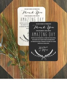 Amazing Day Wedding Reception Thank You Cards - Custom Reception Place Cards - Personalized Wedding Thank You Cards - Vintage Rustic by DetailsonDemand on Etsy