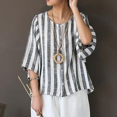 22b0951d5a Johnature Women Striped Shirt Cotton Linen Top O-Neck 2018 Summer New  Vintage O-Neck Seven Sleeve Blouses Loose Button Shirts