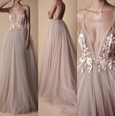 v-neck tulle floor length evening dresses spaghetti-straps applique backless prom dress by olesaweddingdresses, $112.99 USD Straps Prom Dresses, Backless Prom Dresses, Tulle Prom Dress, Sexy Dresses, Bridesmaid Dresses, Prom Gowns, Homecoming Dresses, Short Dresses, Evening Dresses For Weddings