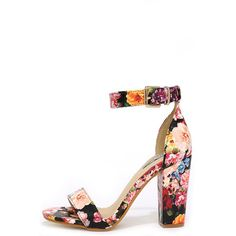 f6ab510a2ff Formal Opinion Flower Print Ankle Strap Heels ( 35) ❤ liked on Polyvore  featuring shoes
