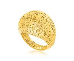 RICHARD CANNON Wire Mesh Motif Dome Ring in 14K Yellow Gold