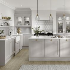 Take a look at our new Chilcomb Dove Grey kitchen cabinets. Whether you want to create rustic home decor, a modern cottage interior or are after a country farmhouse decor look, this Shaker kitchen is Grey Kitchen Designs, Kitchen Room Design, Modern Kitchen Design, Home Decor Kitchen, Interior Design Kitchen, Home Kitchens, Howdens Kitchens, Modern Grey Kitchen, Gray And White Kitchen