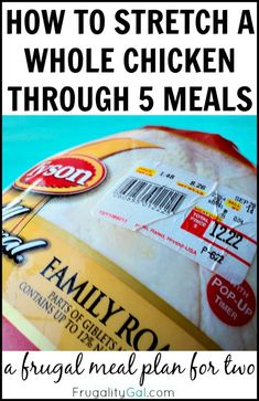 Frugal Living: How to Stretch a whole chicken through five meals. A frugal $45 meal plan using one whole chicken! #frugal Frugal Living Tips