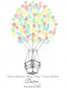 Hot Air Balloon Wedding Finger Print Guest Book by PTWatersDesigns, $18.00