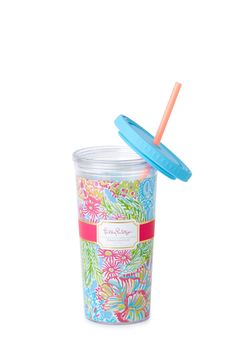 Tumblers are our best friends when on the go. From your car to a day running errands, stay hydrated with your Lilly tumbler in hand.  •Hand wash recommended. •BPA, phthalate and lead free. •16 Oz. •Imported.