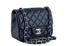 Chanel Caviar Mini Flap, Black Square 2.55 Classic Bag Shw