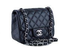 Chanel Caviar Mini Flap, Black Square 2.55 Classic Bag Shw