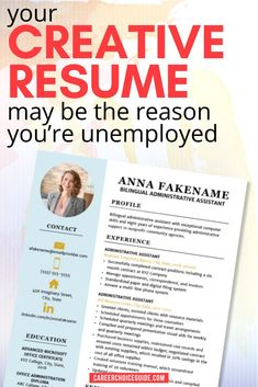 Is your creative resume design ruining your job search? Your resume may seem beautiful to you, but employers might not agree. Here's why a creative resume can hurt your job search and what to do instead. #resumedesign #jobsearch #careerchoiceguide Resume Writer, Job Resume, Best Resume, Cover Letter Tips, Writing A Cover Letter, Cover Letters, Resume Layout, Resume Design, Career Advisor