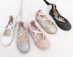 Infant & Toddler girl shoes - WHITE fine glitter ballerina flats with satin ribbon lace up