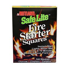 Rutland Safe Lite Fire Starter Squares are the BEST firestarter to start any fire. They are great for hiking, camping, outdoor fires, bbq grills, wood and pellet stoves and fireplaces. No kindling required, non-toxic, will not flavor food, and they light even when wet! Safe Lite Fire Starter... more details available at https://www.kitchen-dining.com/blog/grills-outdoor-cooking/fuel-firestarters/product-review-for-rutland-50b-safe-lite-fire-starter-squares-144-squares/
