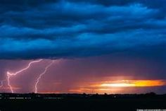 Outrages lightning with cool sunset