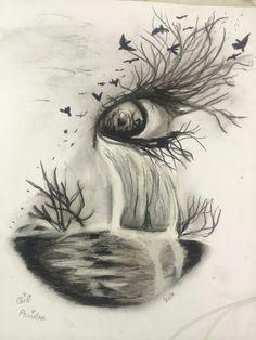 Me inspira a hacer dibujos grupales Dark Art Drawings, Unique Drawings, Pencil Art Drawings, Art Drawings Sketches, Colorful Drawings, Cool Drawings, Landscape Pencil Drawings, Eyes Artwork, Sad Art