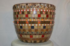 Mosaic pot with mostly squares
